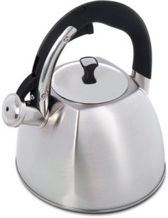 Mr. Coffee Belgrove 2.5 Quart Brushed Stainless Steel Whistling Tea Kettle with Nylon Handle