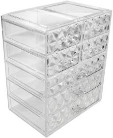Cosmetic Makeup and Jewelry Storage Case Display - 3 Large 4 Small Drawers