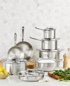 D5 Brushed Stainless Steel 14-Pc. Cookware Set