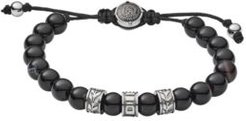 Stainless-Steel and Black Line Agate Bead Bracelet