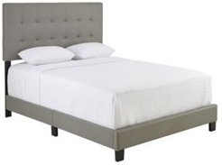 Hudson Queen Faux Leather Upholstered Platform Bed Frame with Tufted Headboard