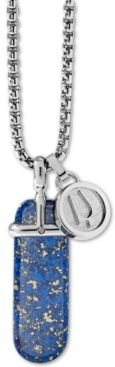 """Blue Lapis Pendant Necklace in Stainless Steel, 26"""" + 2"""" Extender"""