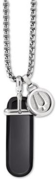 """Black Onyx Pendant Necklace in Stainless Steel, 26"""" + 2"""" Extender"""