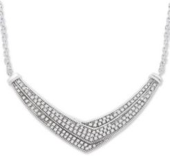 Diamond Pave-Set Crossover Necklace in Sterling Silver (1 ct. t.w.), Created for Macy's