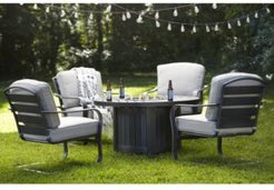 Marlough Ii 5-Pc. Round Fire Pit Chat Set with Sunbrella Cushions, (1 Fire Pit & 4 C-Spring Chairs), Created for Macy's
