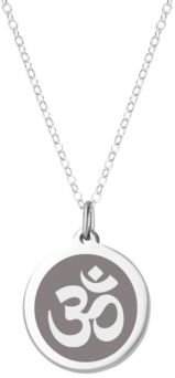 """Om Pendant Necklace in Sterling Silver and Enamel, 16"""" + 2"""" Extender"""