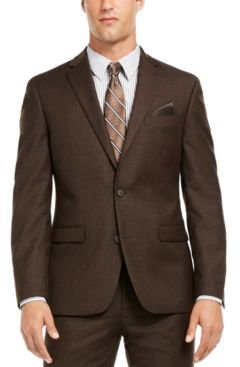 Slim-Fit Brown Textured Suit Separate Jacket, Created for Macy's