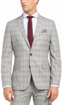 Slim-Fit Active Stretch Performance Black/White Houndstooth Plaid Suit Separate Jacket, Created for Macy's