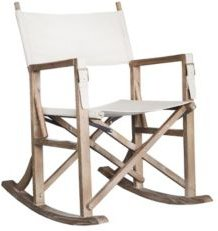 Folding Wooden Rocking Chair with Linen Seat