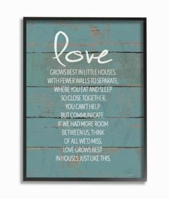 """Love Grows Best in Little Houses Distressed Teal Shiplap Framed Giclee Art, 16"""" x 20"""""""