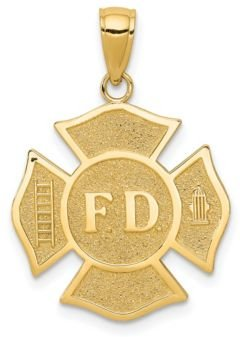 Fire Department Badge Pendant in 14k Yellow Gold