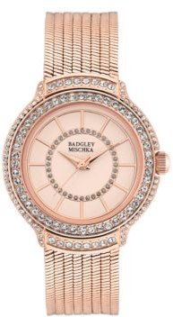 Ladies Rose Gold-Tone Liquid Chain Bracelet with Swarovski Crystal Accents Watch 34mm