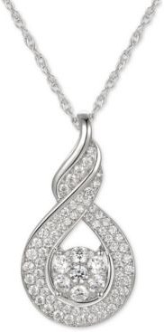 """Cubic Zirconia Twist 18"""" Pendant Necklace in Sterling Silver"""
