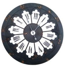Antique Londen Iron Wall Clock with Bold Roman Number