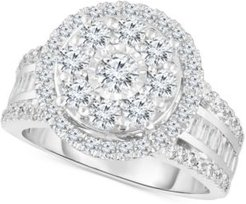 Diamond Halo Cluster Engagement Ring (2 ct. t.w.) in 10k White Gold