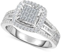 Diamond Halo Cluster Engagement Ring (1 ct. t.w.) in 10k White Gold