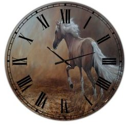 """Running Brown Horse Large Cottage Wall Clock - 36"""" x 28"""" x 1"""""""