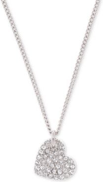"""Silver-Tone Crystal Heart Pendant Necklace, 16"""" + 3"""" extender, Created for Macy's"""