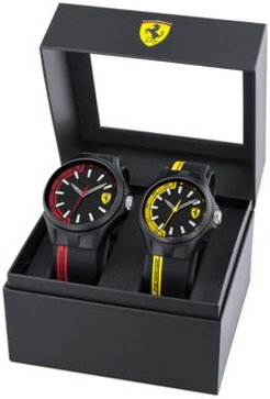 Basics Black Silicone Strap Watch 38mm & 44mm Gift Set
