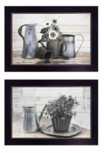 "Floral with Tin Ware 2-Piece Vignette by Robin-Lee Vieira, Black Frame, 20"" x 14"""