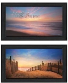 """At the Beach Collection By Lori Deiter, Printed Wall Art, Ready to hang, Black Frame, 42"""" x 12"""""""