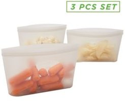 3 Pack Reusable Silicone Food Storage Bag, Leakproof