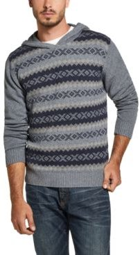 Regular-Fit Geo Jacquard Hooded Sweater