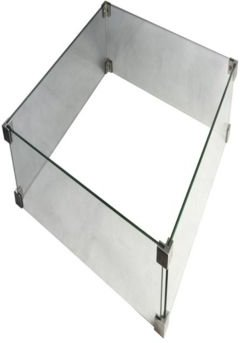 Manhattan Fire Pit Table Tempered Glass Wind Screen