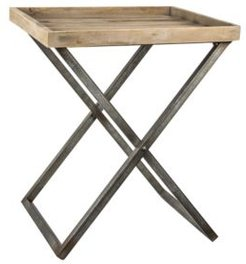 American Art Decor Wood Folding Side Accent Table