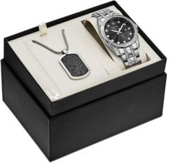 Stainless Steel Bracelet Watch & Pendant Necklace 42mm Gift Set