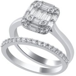 Composite Round and Baguette Twin set Diamond (1/2 ct. t.w.) Ring in 14K White Gold