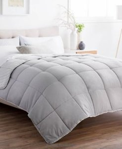 Striped Reversible Chambray Comforter Set, Oversized Queen Bedding