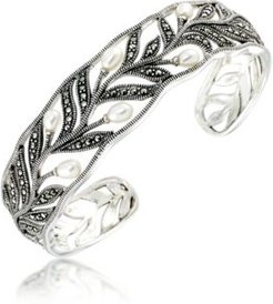 Marcasite and Fresh Water Pearl (8 mm) Cuff Bangle in Sterling Silver