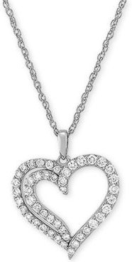 """Lab Created Diamond Heart 18"""" Pendant Necklace (3/4 ct. t.w.) in Sterling Silver"""