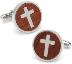 Ox Bull Trading Co Cross Round Wood Cufflinks