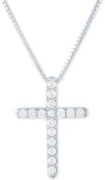 """Lab-Created Diamond Cross 18"""" Pendant Necklace (1/2 ct. t.w.) in Sterling Silver"""
