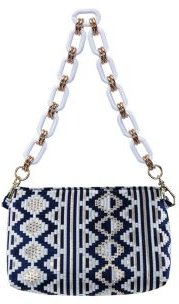 Giada Zig-Zag Brocade Pattern Shoulder Bag With Lucite Chain