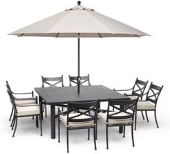 """Montclaire Outdoor Aluminum 9-Pc. Dining Set (64"""" X 64"""" Table & 8 Dining Chairs) With Sunbrella Cushions, Created for Macy's"""