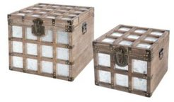 Wooden Square Galvanized Metal Lined Storage Trunk, Set Of 2