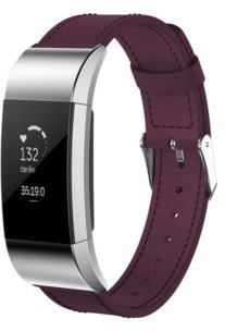 Unisex Fitbit Charge 3 Purple Genuine Leather Watch Replacement Band