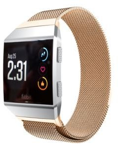 Unisex Fitbit Alta Rose Gold-Tone Stainless Steel Watch Replacement Band