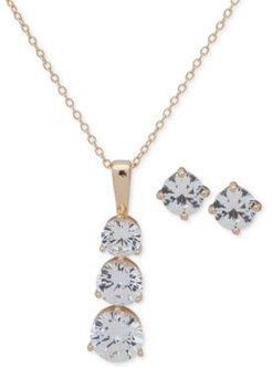 """Gold-Tone Crystal Stud Earrings & Pendant Necklace, 16"""" + 3"""" extender, Created for Macy's"""