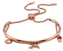 """Cubic Zirconia """"Life's A Beach"""" Dolphin, Sandal and Sun Rose Gold Tone Plated Silver Adjustable Bolo Bracelet Silver Plated"""