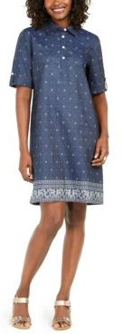 Plus Size Cotton Chambray Dress, Created for Macy's