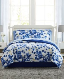 Blue Watercolor Floral Twin 6PC Comforter Set Bedding