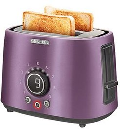 Stainless Steel 2-Slice 800W Toaster with Digital Button & Rack