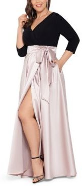 Plus Size 3/4-Sleeve Satin-Skirt Gown