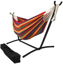 Brazilian Double Hammock with Stand and Carrying Pouch 2 Person Portable Bed