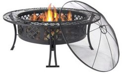 Diamond Weave Large Outdoor Fire Pit with Spark Screen