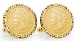 Gold-Layered Indian Head Penny Rope Bezel Coin Cuff Links